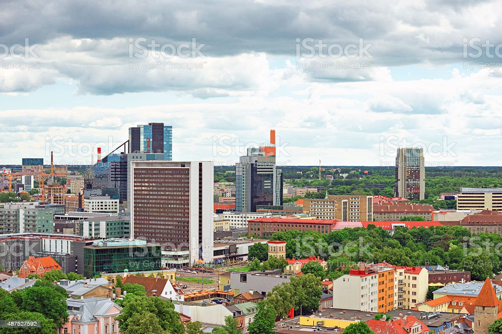 Panoramic view of modern Tallinn, Estonia. stock photo
