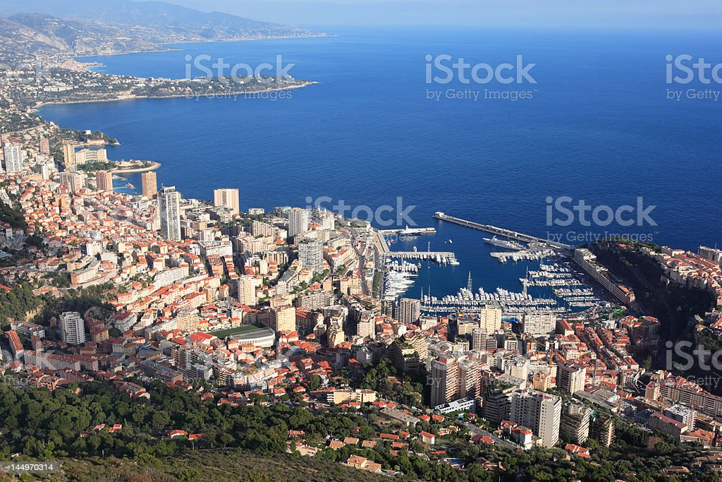 panoramic view of Monaco and coastline French Riviera royalty-free stock photo