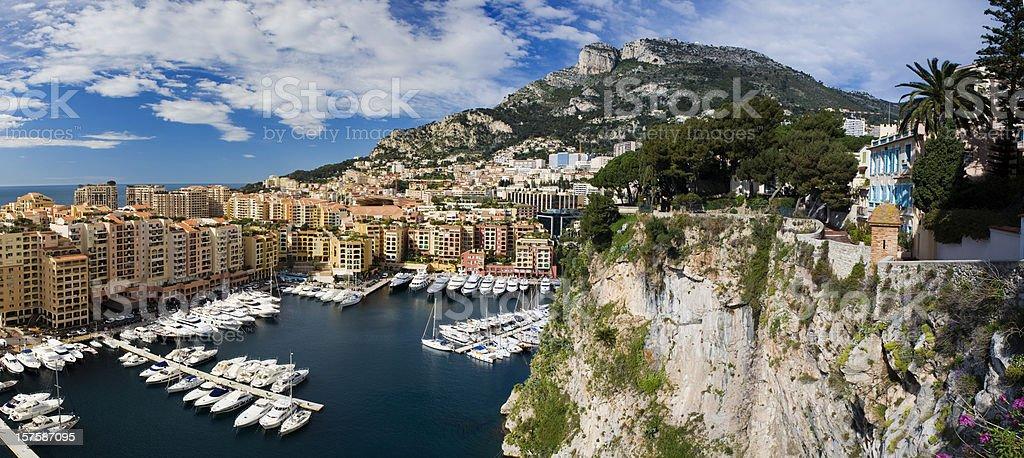 Panoramic View of Monaco Harbour, Monaco royalty-free stock photo