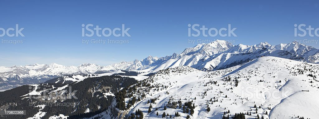 Panoramic view of Mont Blanc and the French Alps royalty-free stock photo