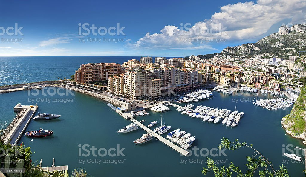 Panoramic view of Monte Carlo harbour stock photo