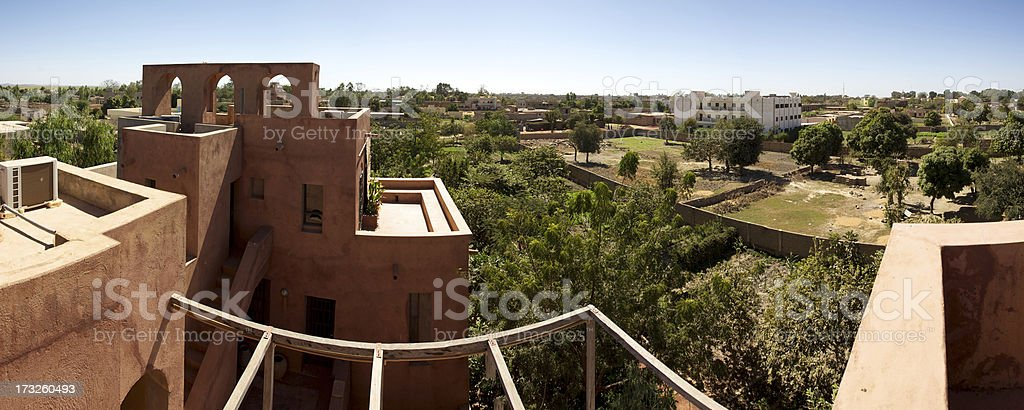 Panoramic view of Moroccan architecture in Mopti Dogon Land royalty-free stock photo