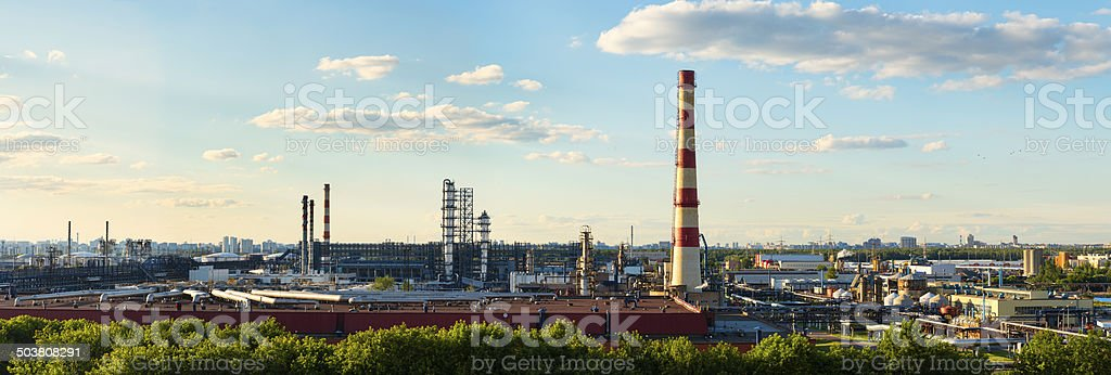 Panoramic view of Moscow Oil-processing factory of GAZPROM stock photo