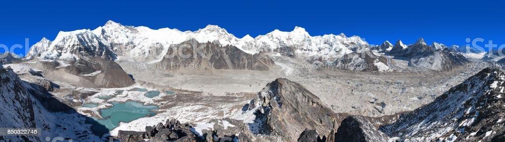 panoramic view of Mount Cho Oyu and Cho Oyu base camp stock photo