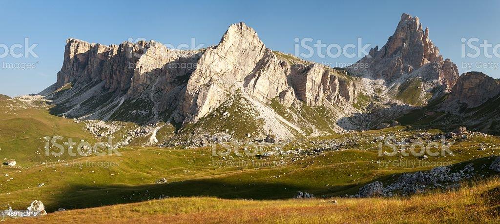 panoramic view of mount Croda da Lago stock photo
