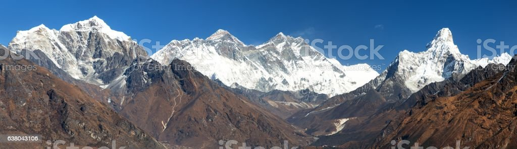 Panoramic view of Mount Everest, Lhotse and Ama Dablam stock photo