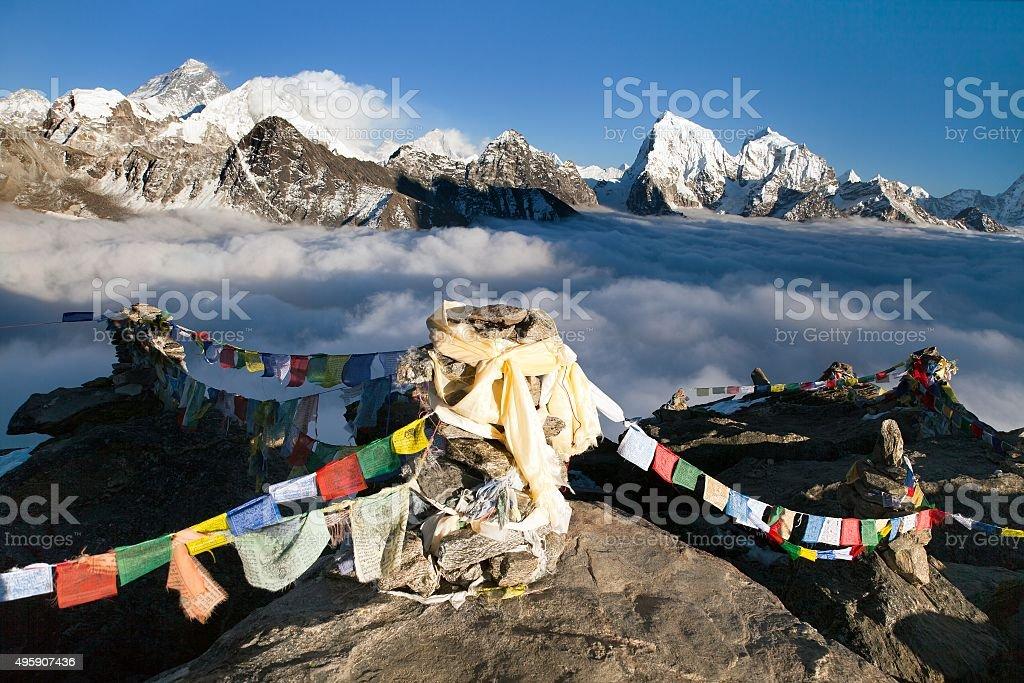 Panoramic view of Mount Everest, Lhotse and Makalu stock photo