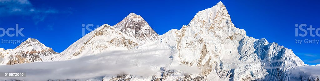 Panoramic view of Mount Everest, Nuptse from Kala Pattar stock photo