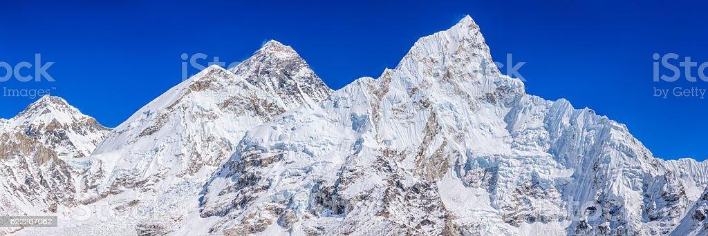 Panoramic view of Mount Everest, Nuptse from Kala Pattar stock photo