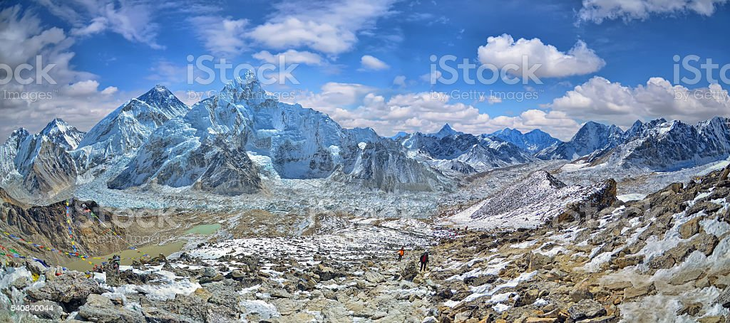 Panoramic view of Mount Everest stock photo