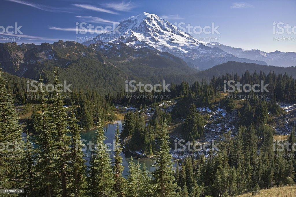 Panoramic view of mount rainier stock photo