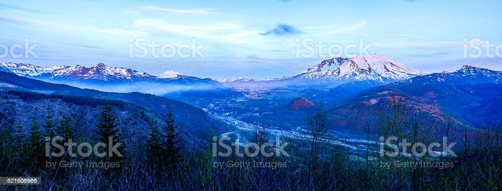Panoramic View of Mount Saint Helens Sunset stock photo