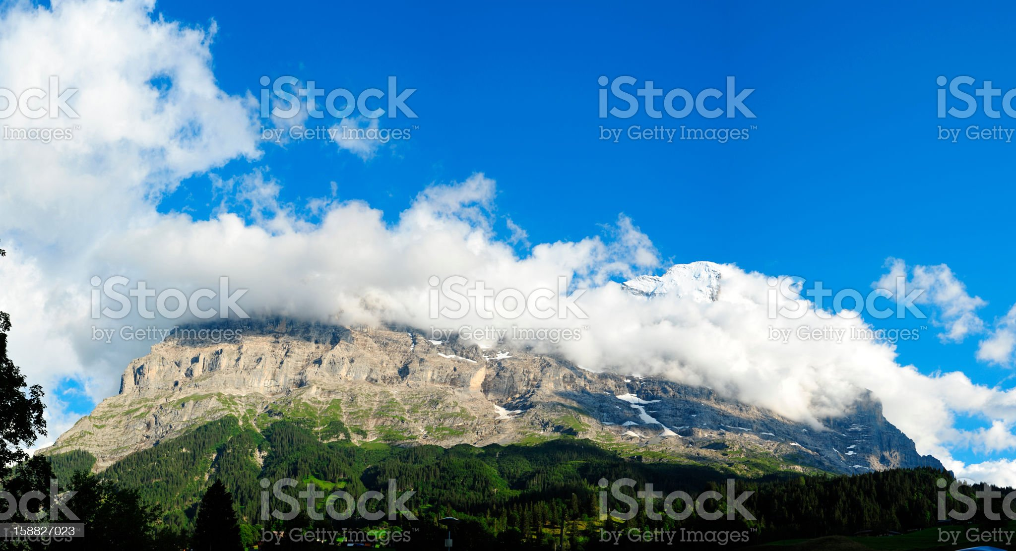 Panoramic View of Mountain in Switzerland royalty-free stock photo