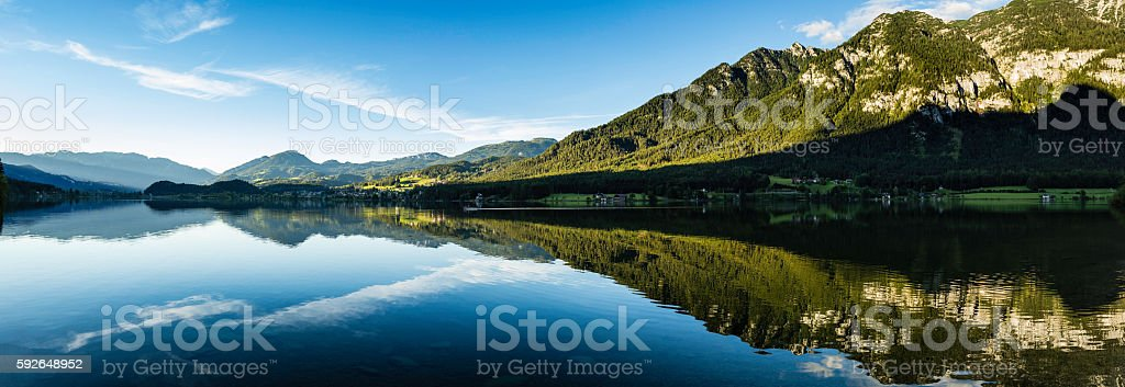 panoramic view of mountain lake stock photo