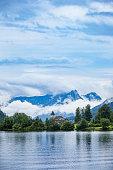 panoramic view of mountain lake
