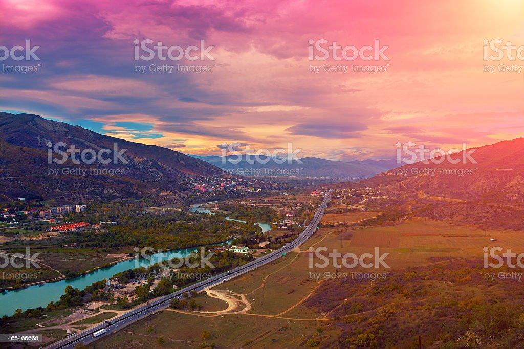 Panoramic view of Mtskheta city stock photo
