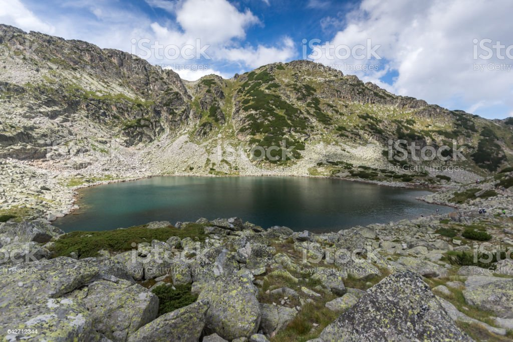 Panoramic view of Musalenski lakes and Musala peak, Rila mountain stock photo