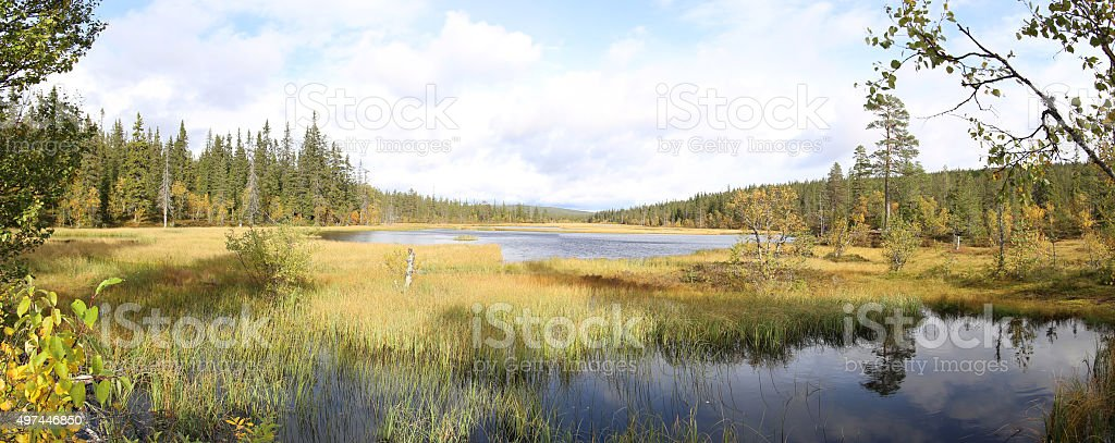 Panoramic view of Myrflodammen on a sunny september day stock photo