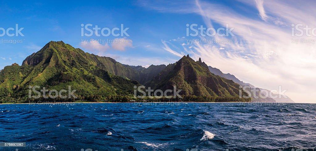 Panoramic view of Na Pali coast from the ocean, Kauai stock photo