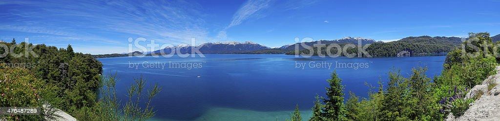 Panoramic view of Nahuel Huapi Lake, near Bariloche, Argentina royalty-free stock photo