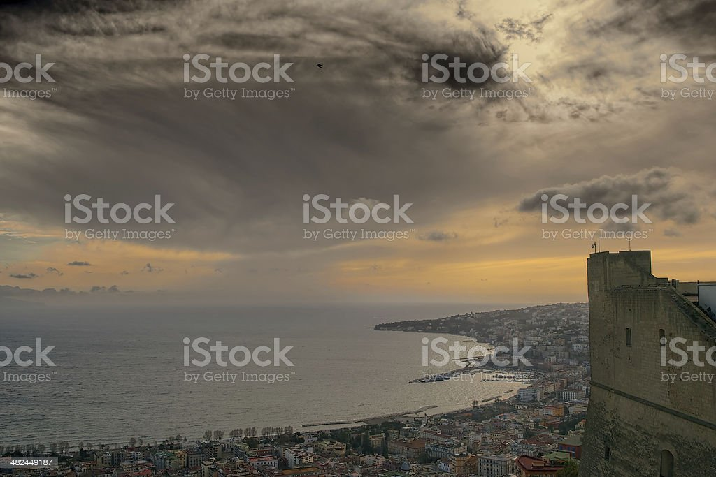 Panoramic view of Naples at dusk stock photo