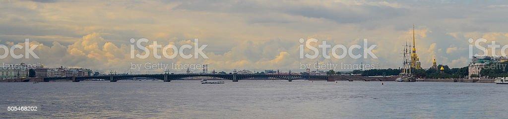 Panoramic view of Neva river. Golden clouds. Saint Petersburg, Russia stock photo
