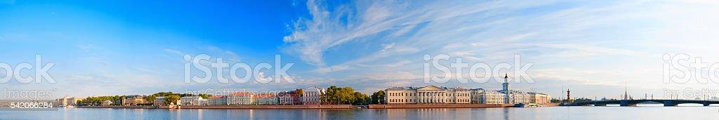Panoramic view of Neva river in Saint Petersburg, Russia stock photo