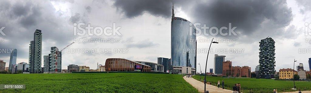 Panoramic view of new skyline of Milan - Italy stock photo