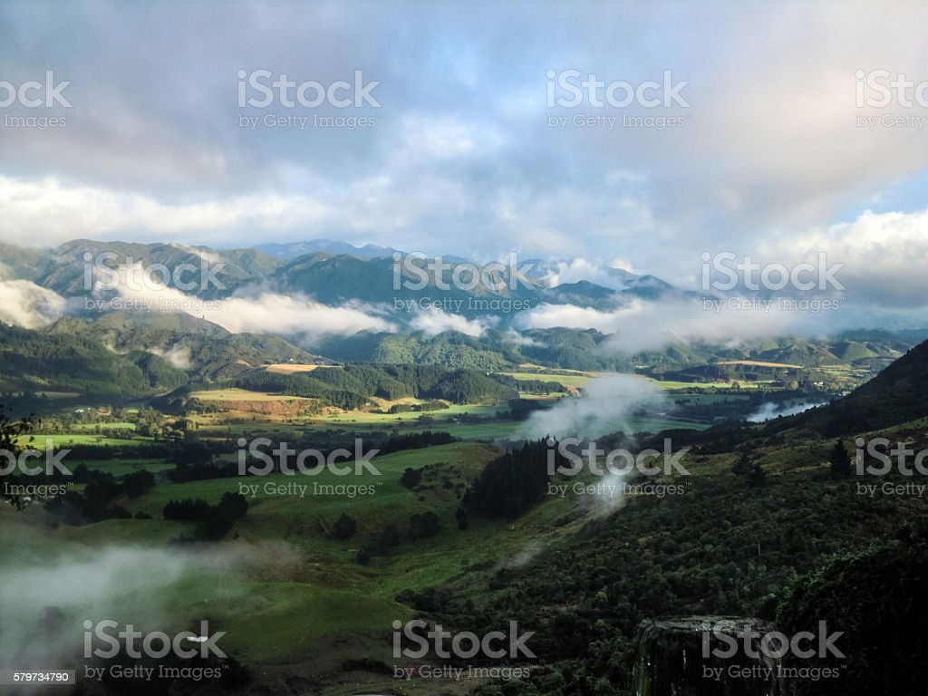 Panoramic view of New Zealand, Golden Bay Area stock photo