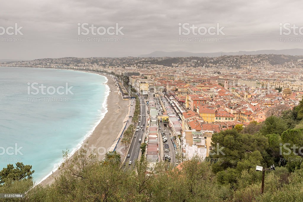 Panoramic view of Nice across the Baie des Anges stock photo