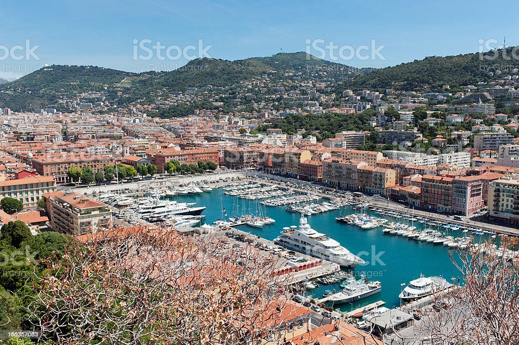 Panoramic view of Nice Port, Cote d'Azur royalty-free stock photo