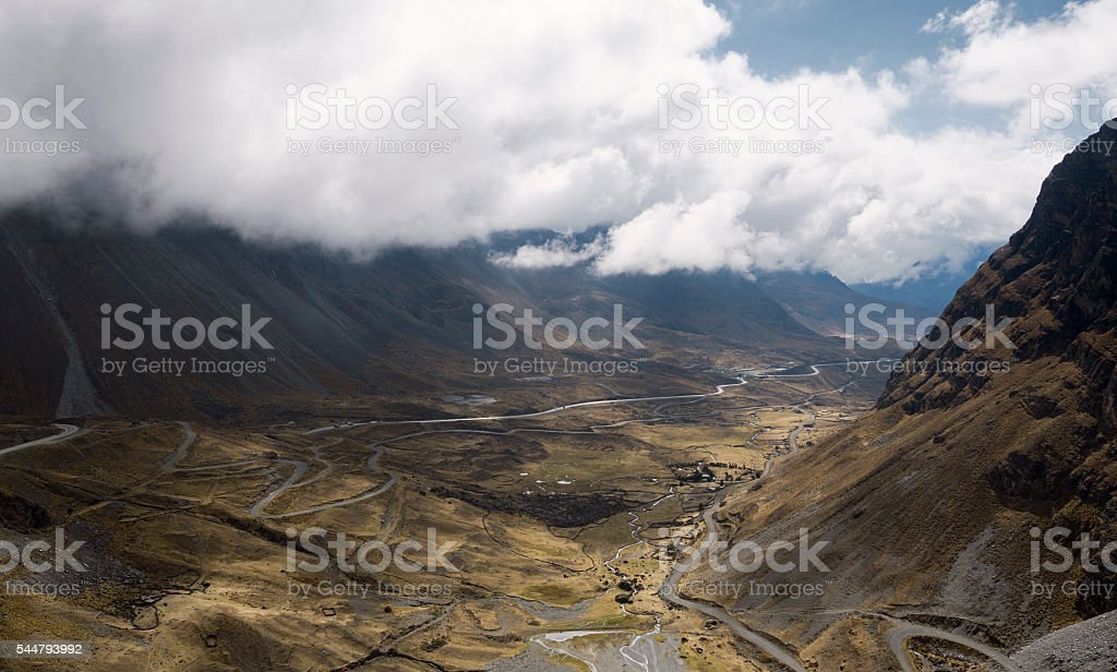 Panoramic view of North Yongas landscape with low clouds stock photo