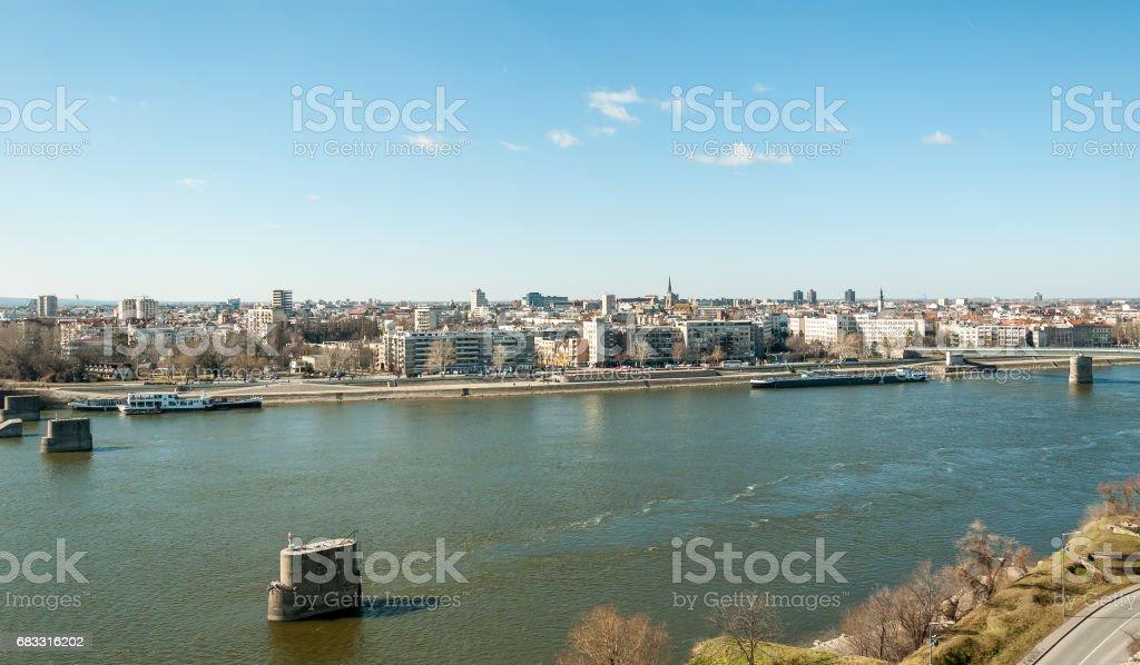 Panoramic view of Novi Sad, Serbia. stock photo
