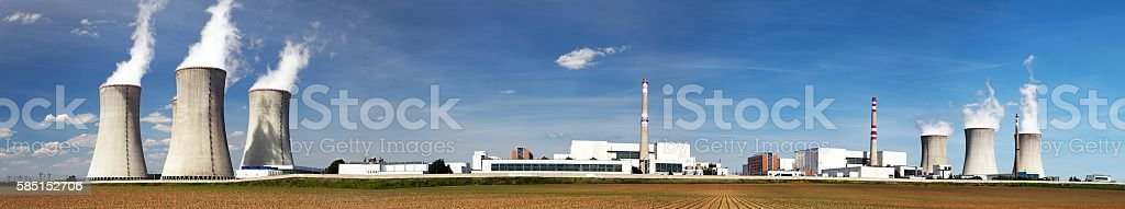 Panoramic view of Nuclear power plant Dukovany stock photo