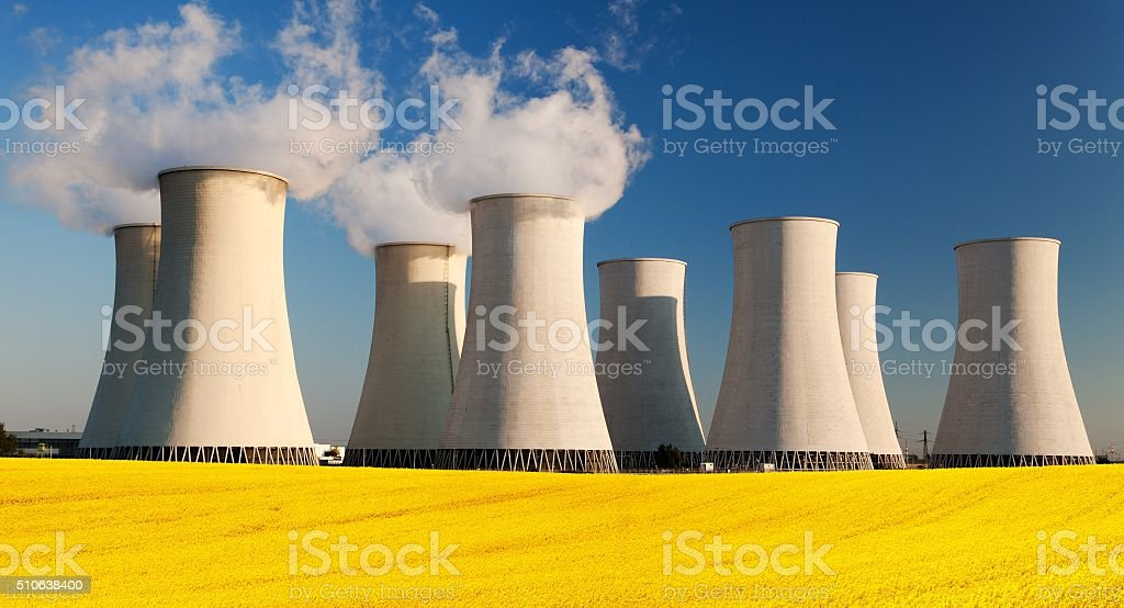 Panoramic view of Nuclear power plant Jaslovske Bohunice stock photo