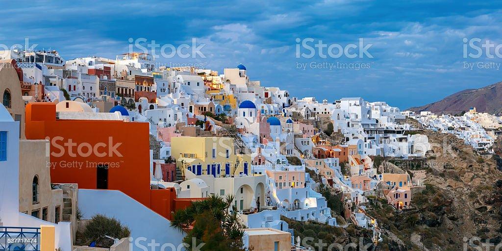 Panoramic view of Oia, Santorini, Greece stock photo