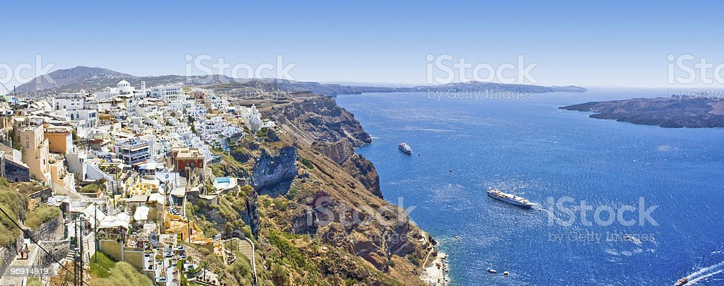 Panoramic view of Oia village on Santorini island, Greece royalty-free stock photo