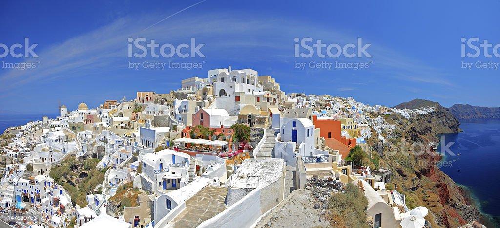 Panoramic view of Oia village on Santorini island royalty-free stock photo