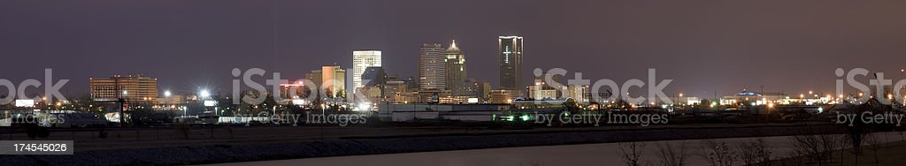 Panoramic View of Oklahoma City at Night (XXXL) royalty-free stock photo