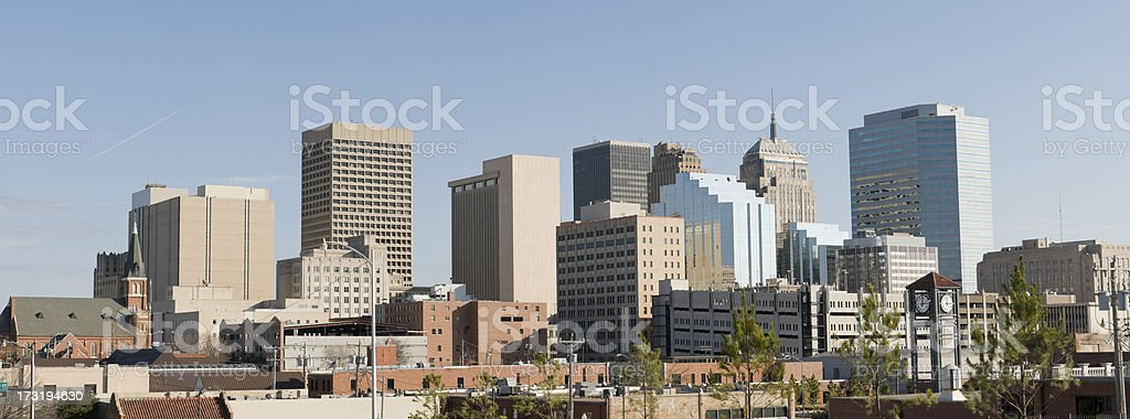 Panoramic view of Oklahoma City Skyline on a cloudless day stock photo