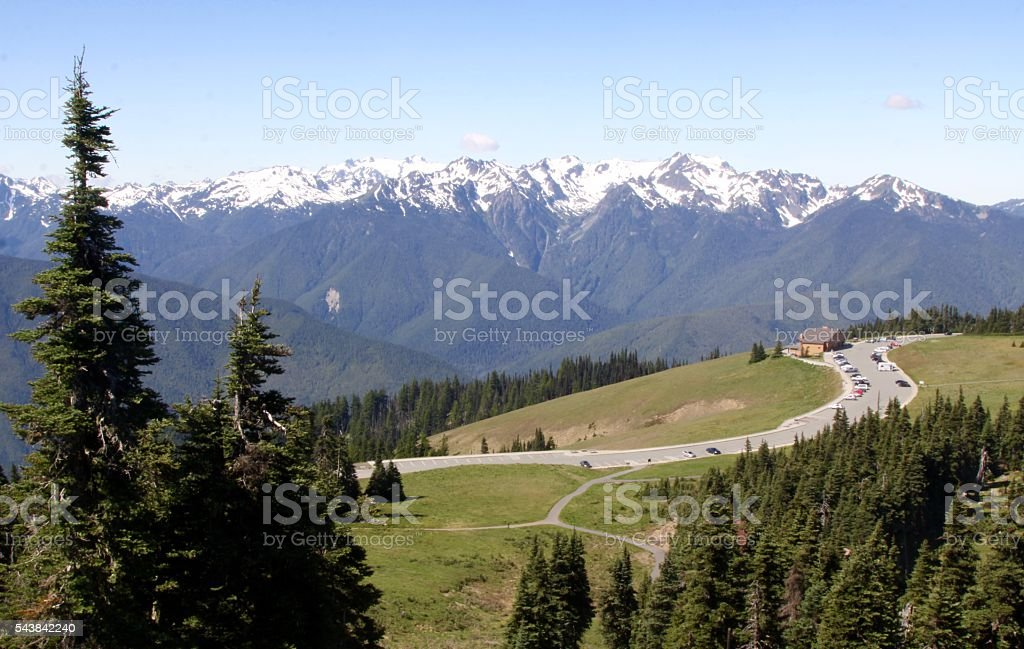 Panoramic View Of Olympic National Park From Hurricane Ridge stock photo