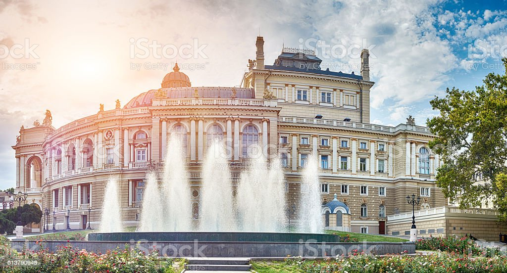 Panoramic view of Opera and Ballet Theater in Odessa stock photo
