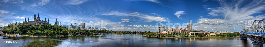 Panoramic view of Ottawa in Canada stock photo