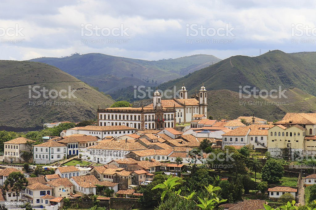 Panoramic view of Ouro Preto in Brazil royalty-free stock photo