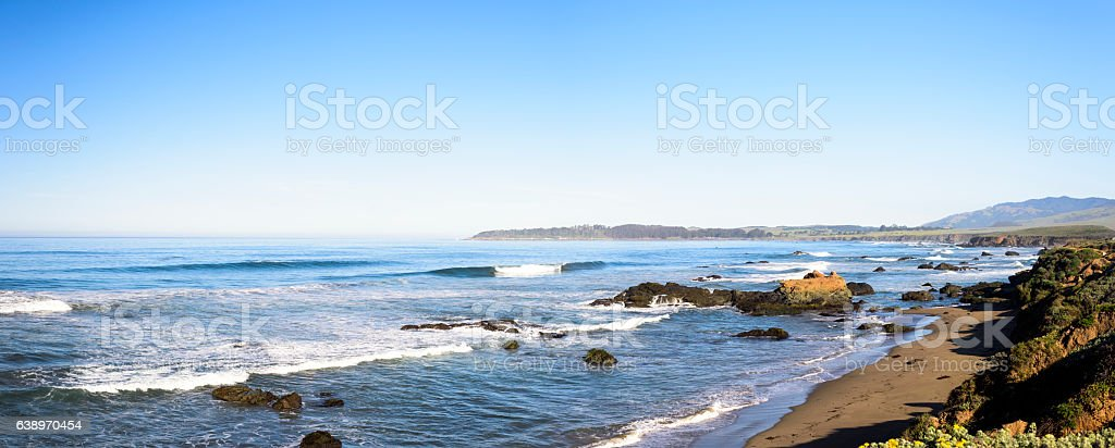 Panoramic view of Pacific ocean on Highway 1 stock photo