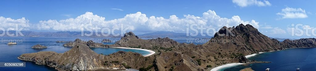 Panoramic View of Padar Island, Flores, Indonesia. stock photo