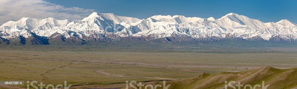 Panoramic view of Pamir mountain and Pik Lenin - Kyrgyzstan stock photo