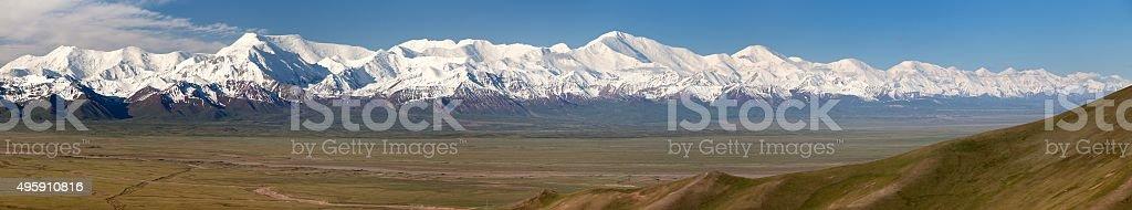 Panoramic view of Pamir mountain and Pik Lenin stock photo