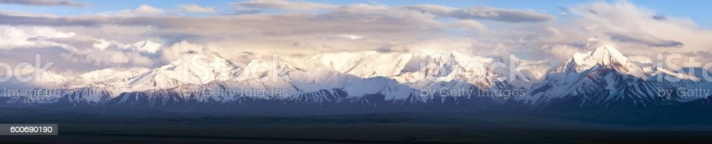 Panoramic view of Pamir mountain stock photo