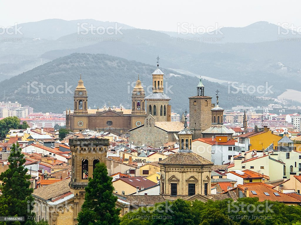 Panoramic view of Pamplona on the background of mountains. stock photo